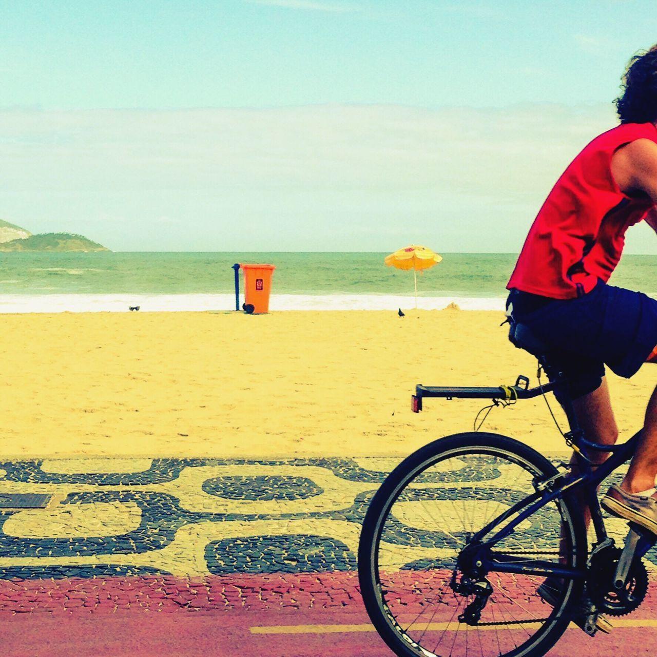 CyclingUnites Bicycle Beach Real People Lifestyles Ipanema Beach Rio De Janeiro Biker Transportation IPhoneography
