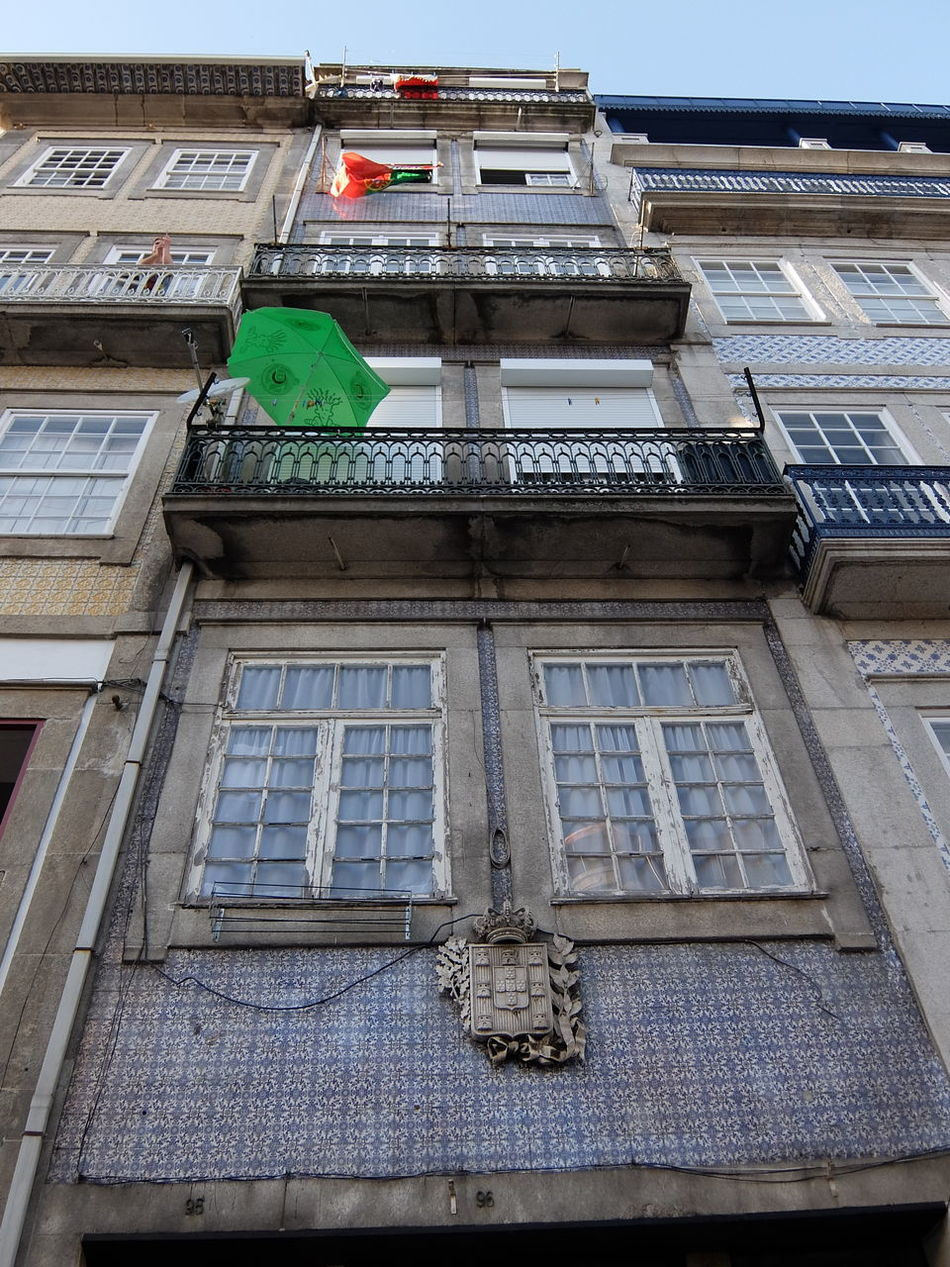 Architecture Balcony Building Exterior City City Life Euro 2016 Façade Flag Green & Red Porto Portugal