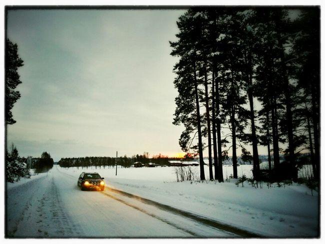 Car Landscape Winter Snow Road Sweden Bälinge