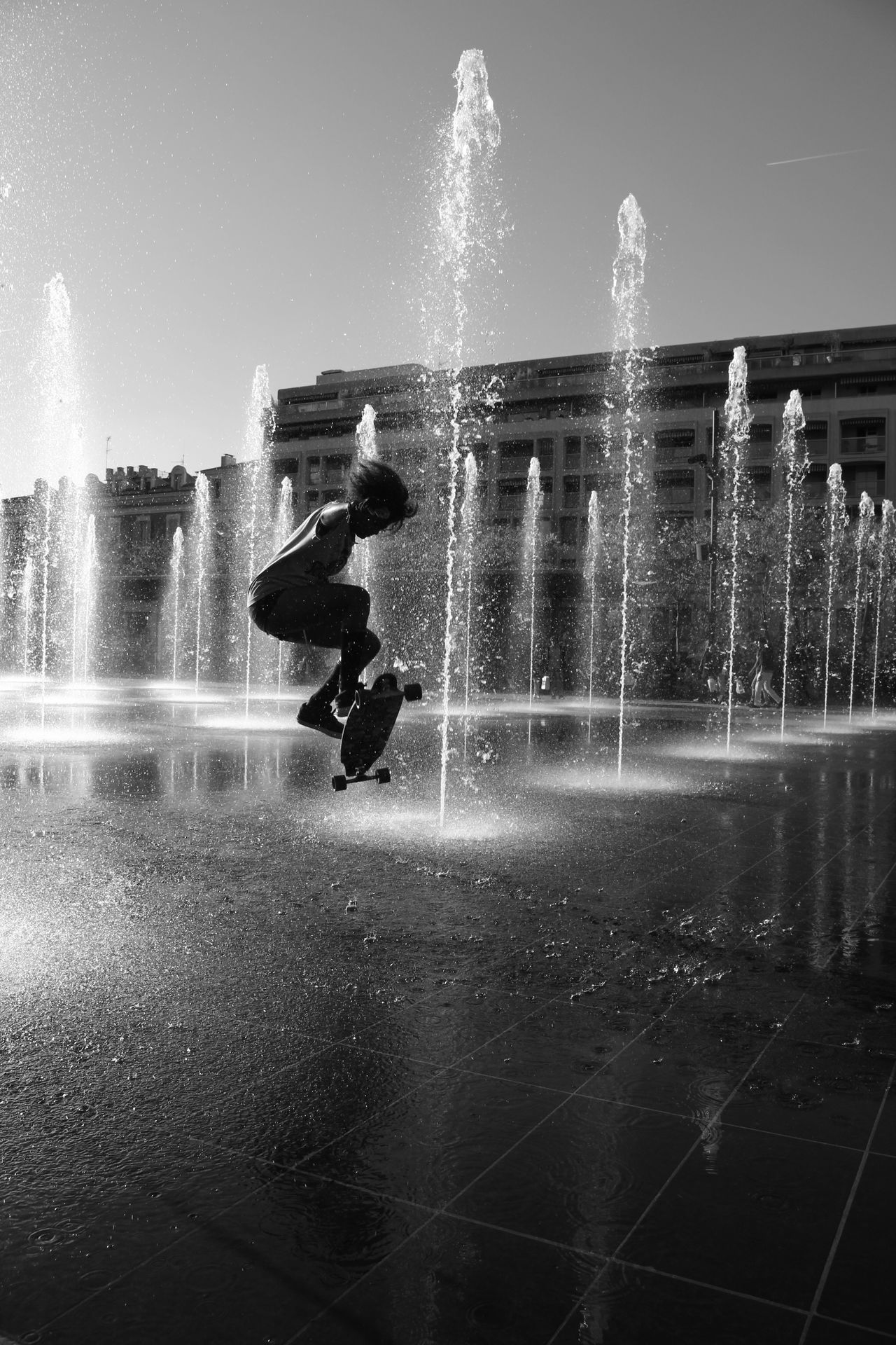 Splashing Motion Fountain Spraying Silhouette Sport Adventure Sky Full Length Women Who Inspire You Woman Skateboard Skatelife Skateboardlife SkateboardLifeStyle Bw_lover Bw_collection Blackandwhite Photography Outdoors Adults Only People Swimming Pool Adult Power In Nature Pixelated Sommergefühle