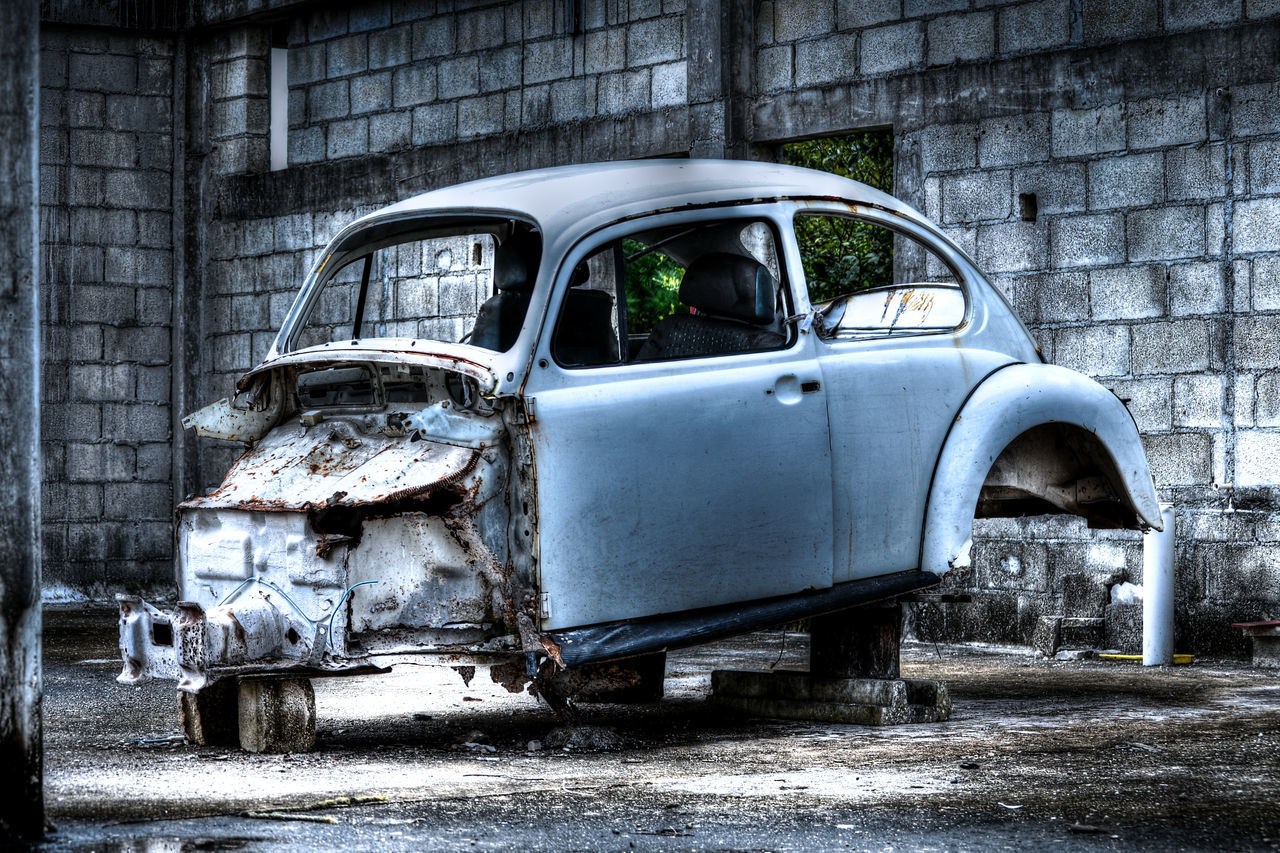 abandoned, damaged, transportation, obsolete, deterioration, mode of transport, car, old ruin, day, no people, land vehicle, run-down, weathered, destruction, bad condition, architecture, outdoors, stationary, built structure, building exterior