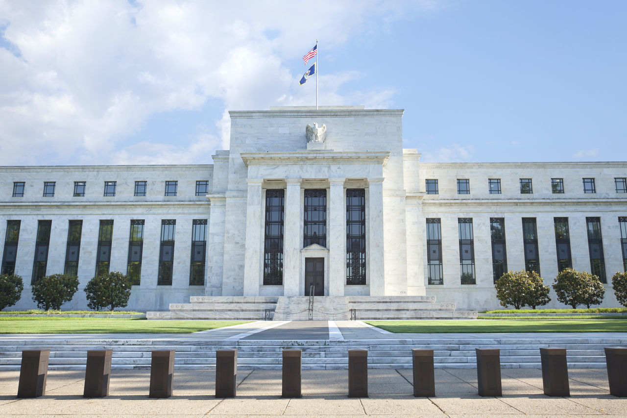 American Flag Architecture Blue Building Clouds Columns Exterior Federal Reserve Bank Historical No People Sky United States USA Washington, D. C. Washington, D.C. White
