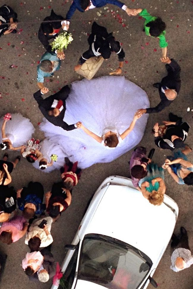Wedding Bride Dancing Ethnic Big Fat Lebanese Wedding People Watching View From Above