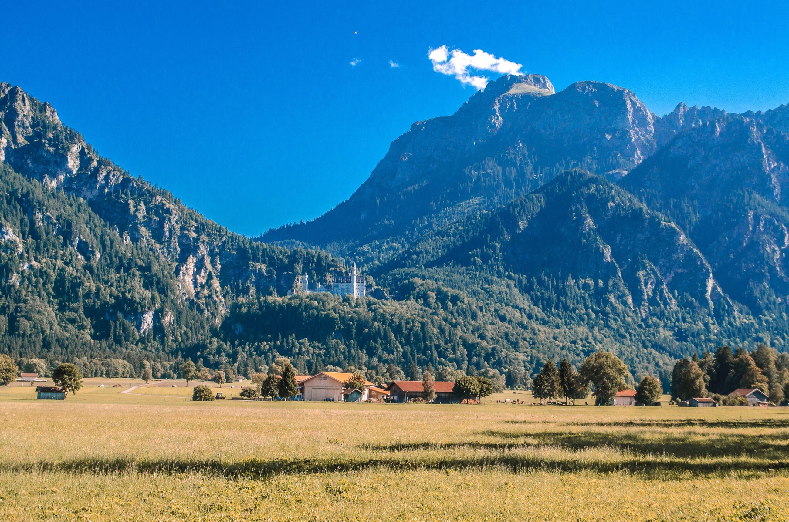 mountain, blue, clear sky, landscape, tranquil scene, tranquility, mountain range, scenics, beauty in nature, tree, field, nature, rural scene, non-urban scene, grass, growth, house, sky, sunlight, copy space