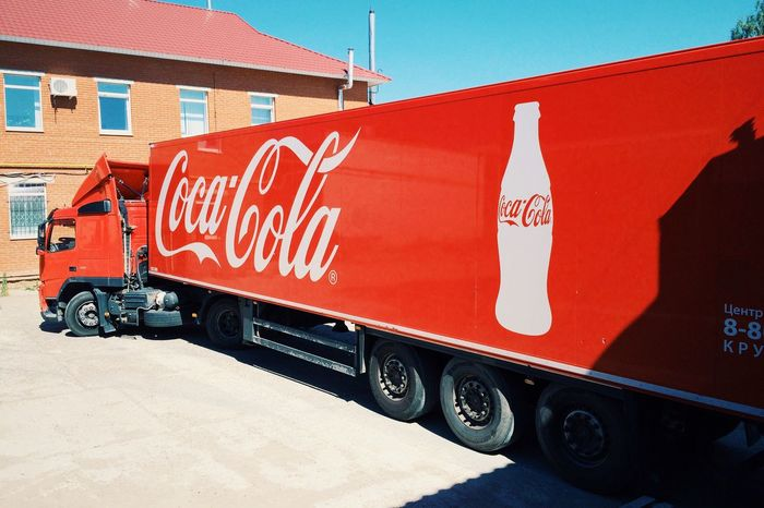 Building Exterior Transportation Land Vehicle Red Cocacola Truck