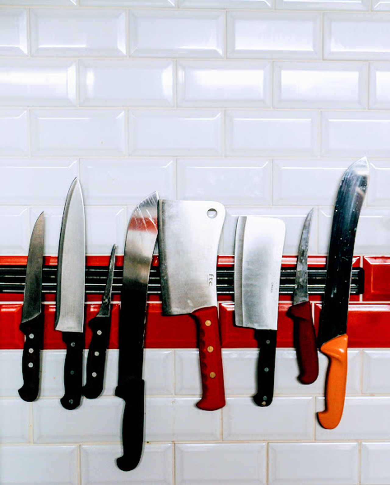 Artisan Artisan Butcher Blades Butcher Shop Butchers Butchers View Butchery Choice Cleaver Close-up Coathanger Day Indoors  Knife Knives Large Group Of Objects Meat No People Store Variation Wall Tiles White Color