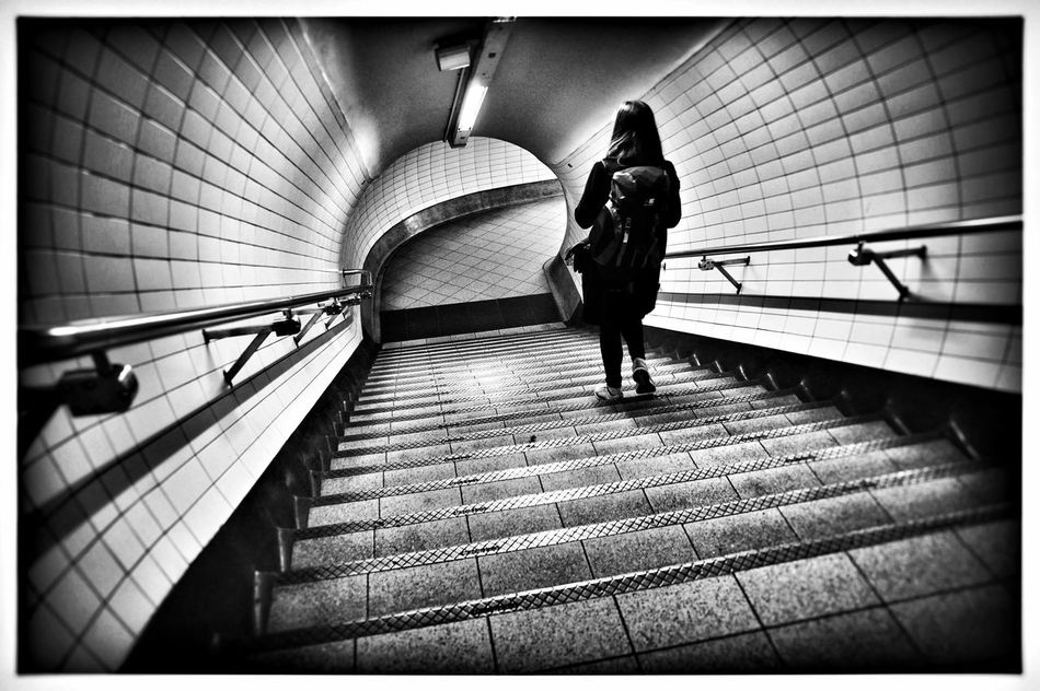 Commute Edit 12/14 Blackandwhite London Londonunderground Traveling Silhouette Perspective Tube Monochrome Passenger Commute Bwstreetphotography Woman Stairs Architecture Journey Down Tunnel Subway Train