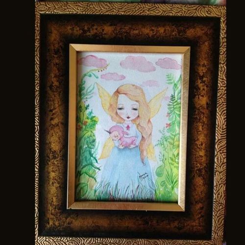 """""""Souls"""" made with love 2 10X15 Finishedwork Painting Watercolor Illustration tiny piece of art fairy with pink creature unicorn NymkaLkh Nymka Lkh © 2014 souls made with love2"""