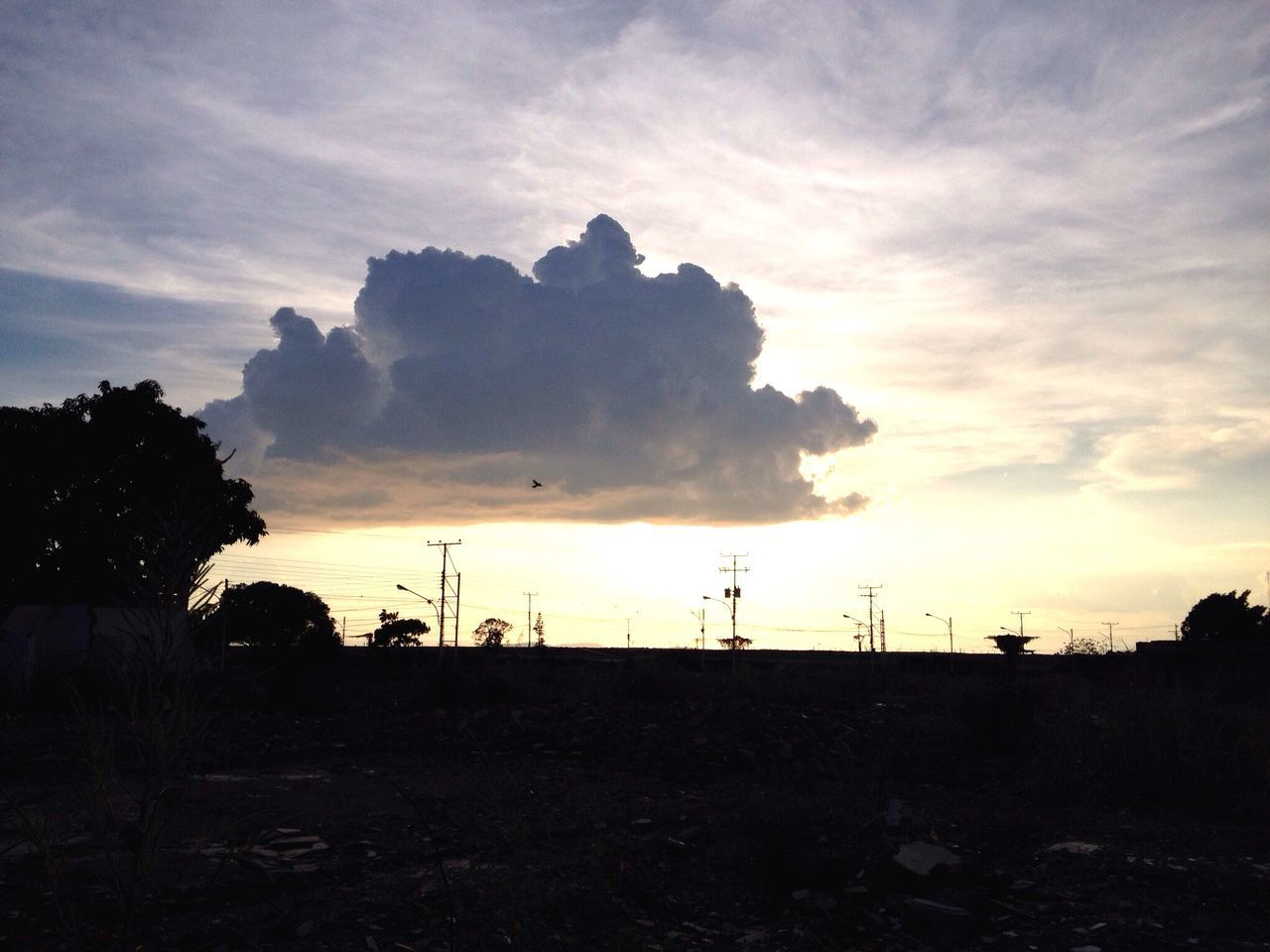 Landscape Against Cloudy Sky During Sunset