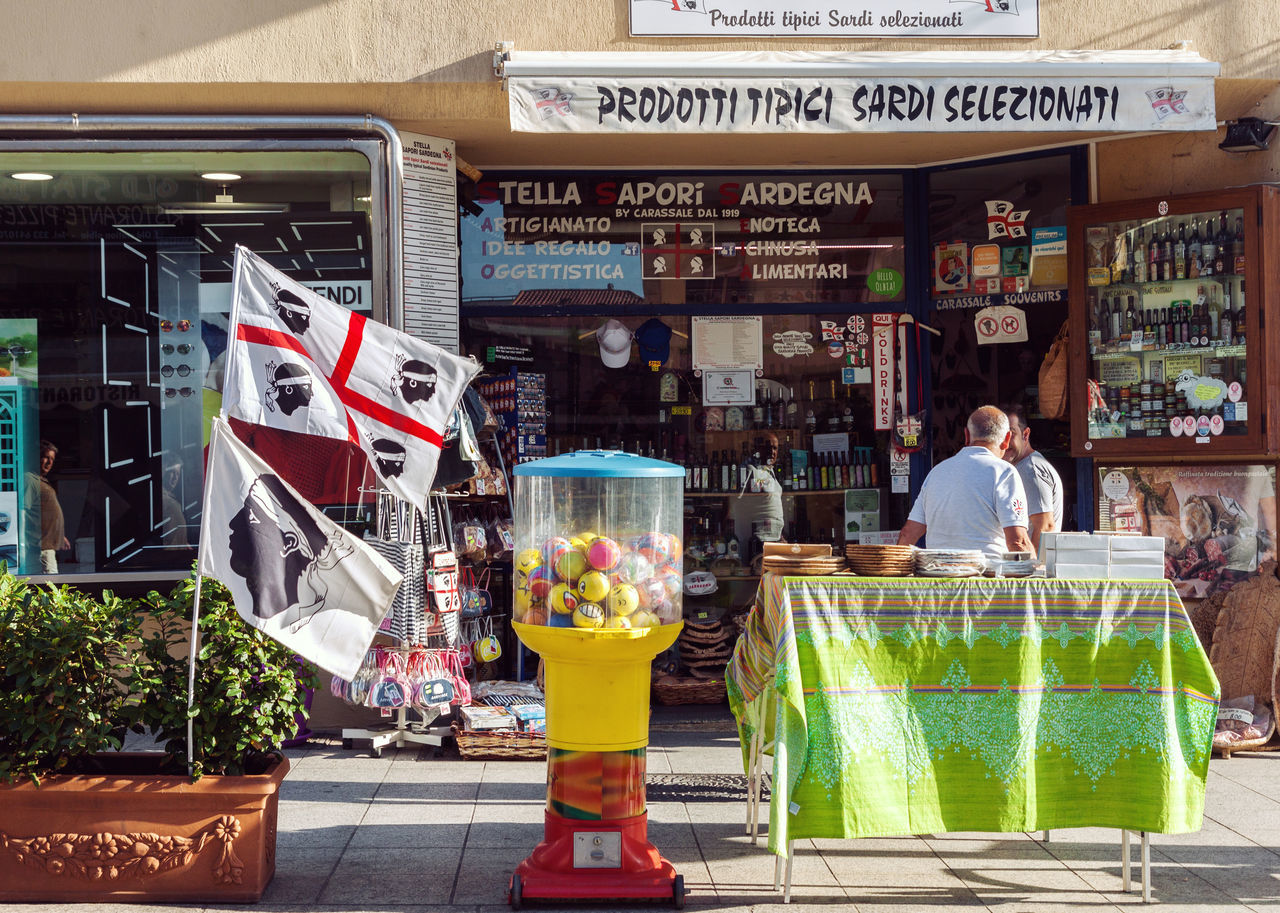 Store Outdoors Day Sardinia Italy Shop Souvenir Grocery Store Street Shopping Sardegna Entrance Goods Front View Gift Shop Travel