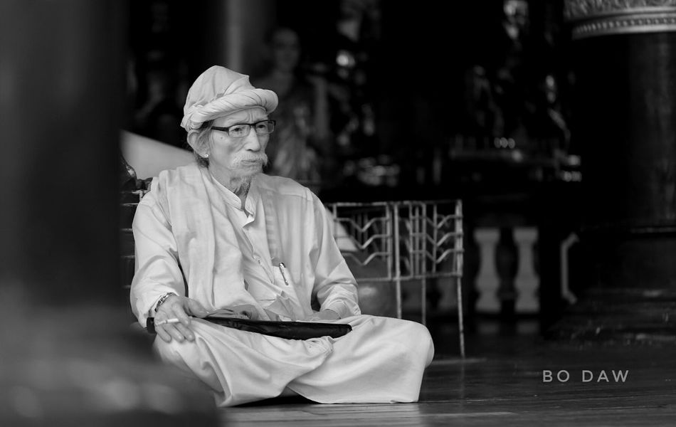 Blackandwhite Photography Myanmarphotos Yangon, Myanmar Myanmardress Table Lifestyles Sitting Indoors  Leisure Activity Food And Drink Person Focus On Foreground Young Adult Casual Clothing Restaurant Mature Adult