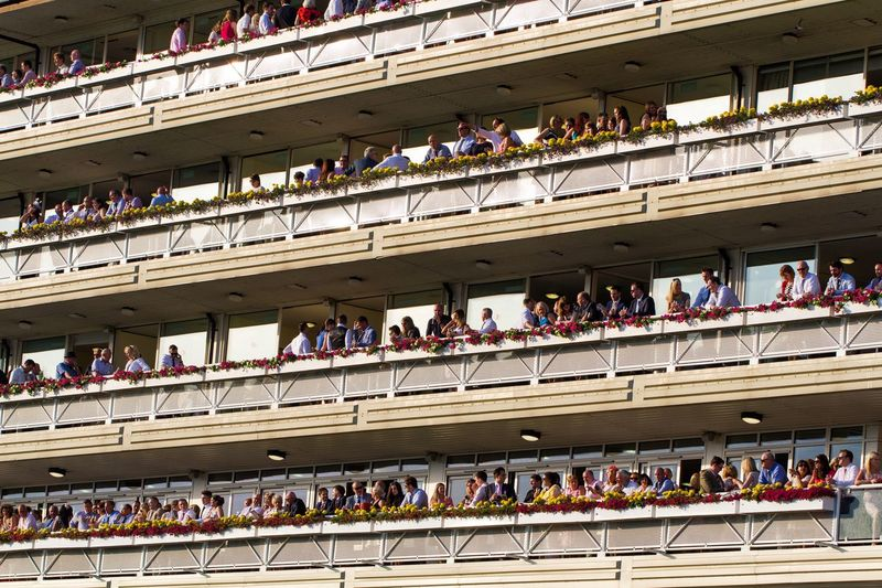 The County Stand at York Racecourse is full of racegoers at a horse racing meet. York York Racecourse York Races Horse Racing County Stand Grandstand Hanging Out Racegoers Fans Balconies Layers Watching Enjoying Life Sport Watching Sport
