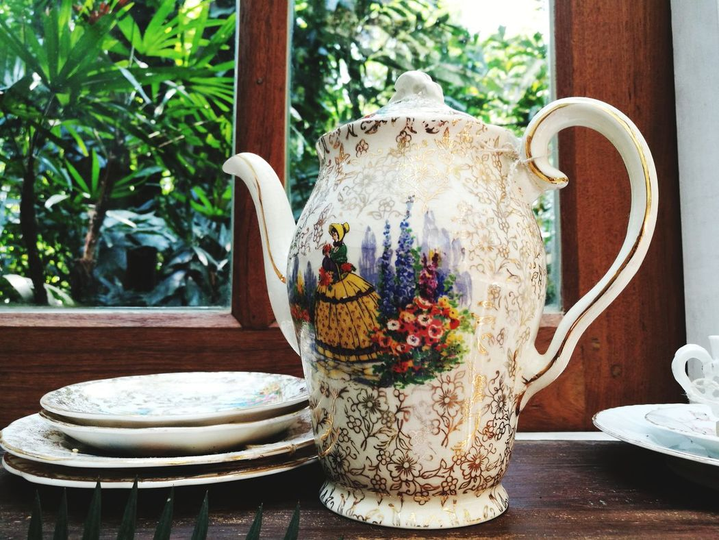 Teapot Decorative Urn Pottery No People Plant Table Close-up Tree Day Indoors