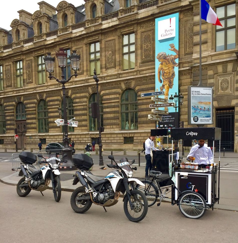 Transportation Built Structure Building Exterior Mode Of Transport Architecture Motorcycle Stationary Land Vehicle Men Helmet City Outdoors People Adults Only Adult Young Adult Day City Paris, France  History
