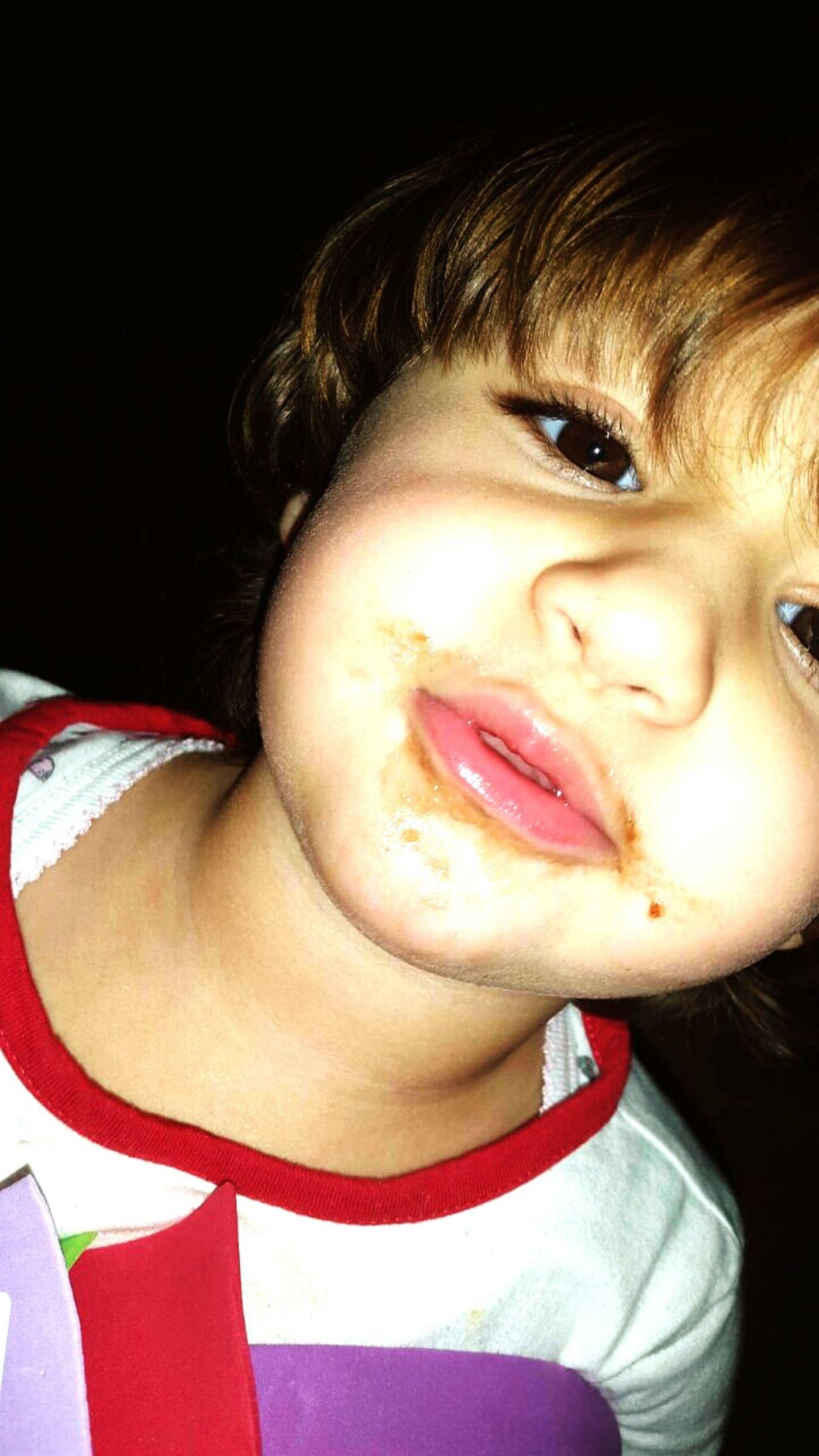 Cute Baby Kid Eating Chocolate Chocolate Kiss