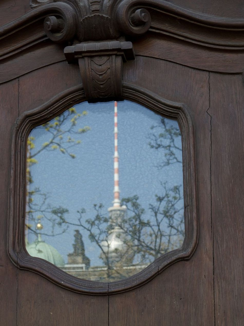 Architecture Building Exterior Built Structure Close-up Day Door Mirror Image No People Outdoors Reflection In The Window Tv Tower Berlin