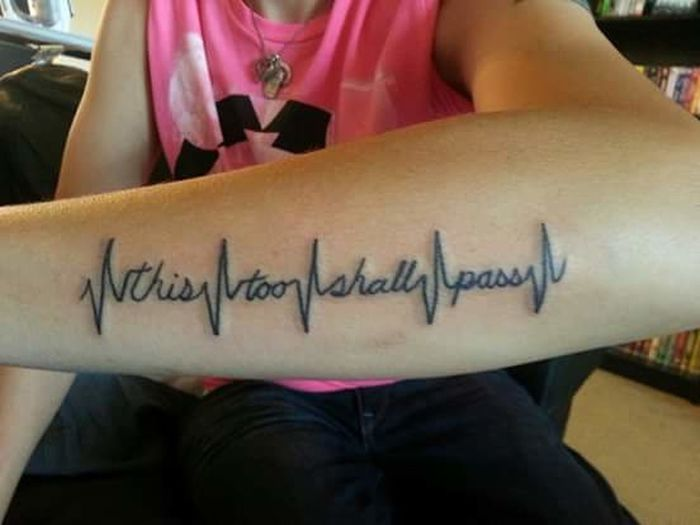 Tattoo Life Text Communication Western Script Person Lifestyles Close-up Celebration Holding Pink Color Recovery Quote Forearm Tattoo Forearm Heart Rate Monitor
