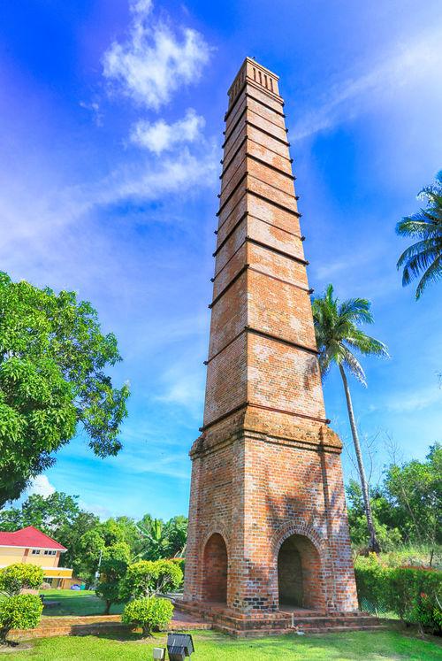 Chimney Labuan Travel Blue Sky Borneo Botany Chimney Coal Mining History Coconut Tree Museum