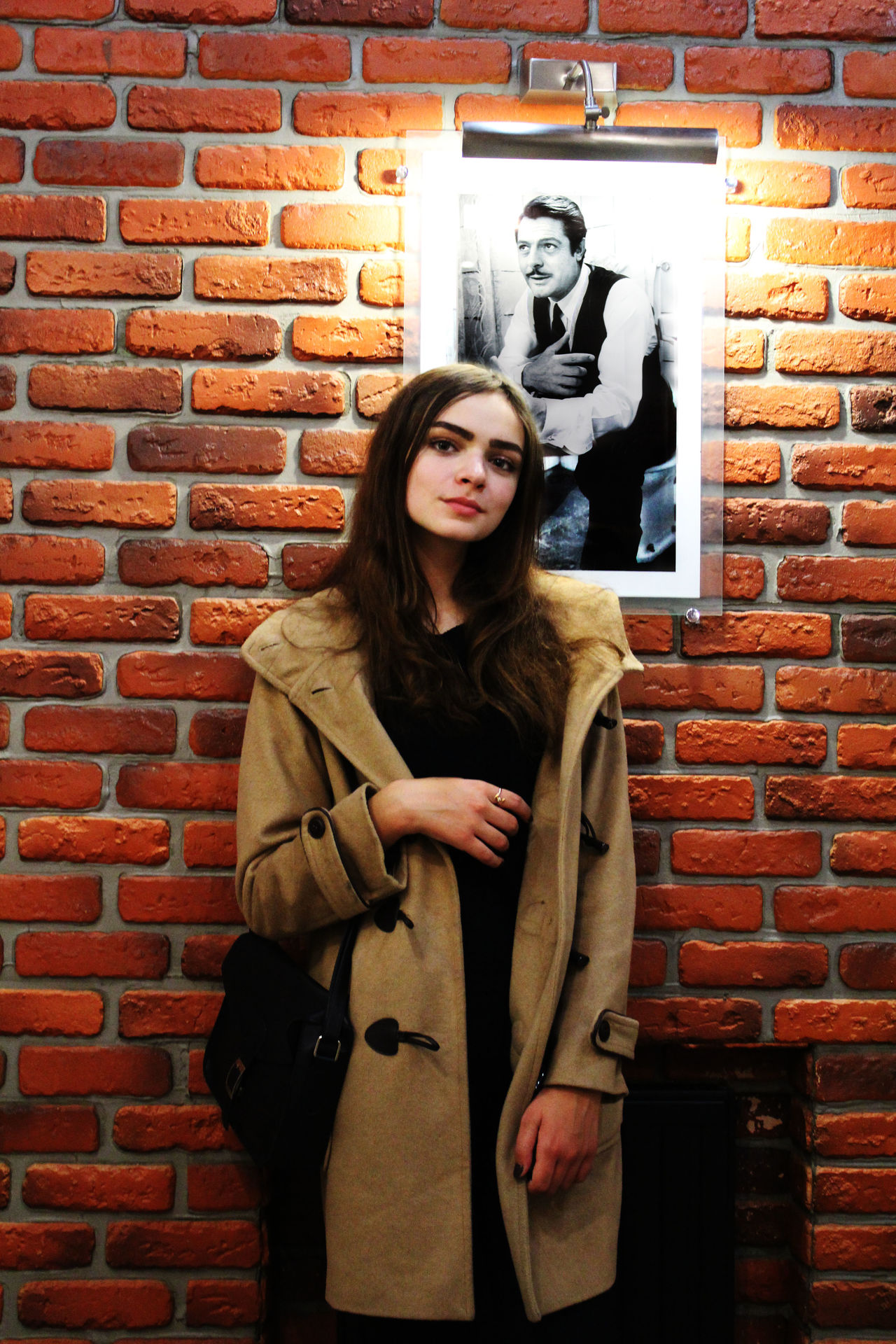 Adult Adults Only Beautiful Woman Brick Wall Day Holding Indoors  Long Hair Looking At Camera One Person One Woman Only One Young Woman Only Only Women People Portrait Standing Well-dressed Women Young Adult