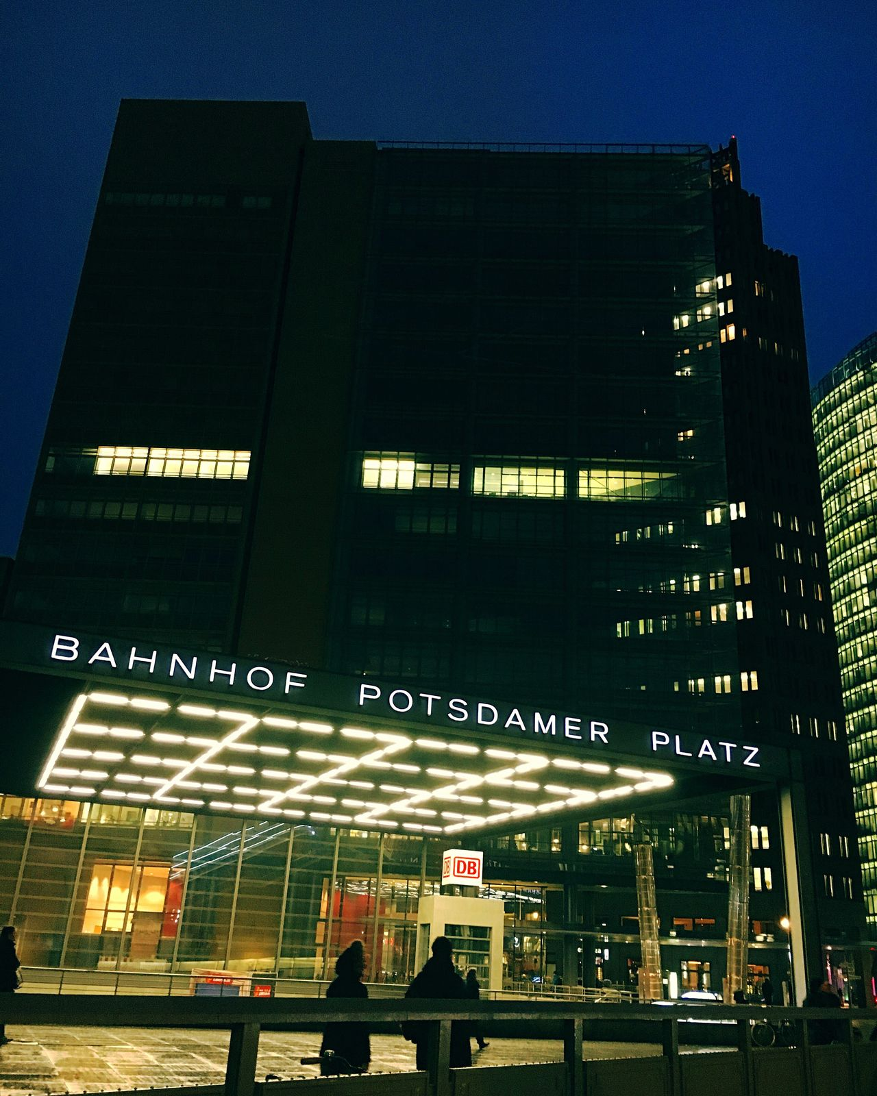 Built Structure Architecture Building Exterior City Outdoors Text City Life Low Angle View Communication Illuminated Night Skyscraper Potsdamer Platz Famous Place Famous Places Berlin