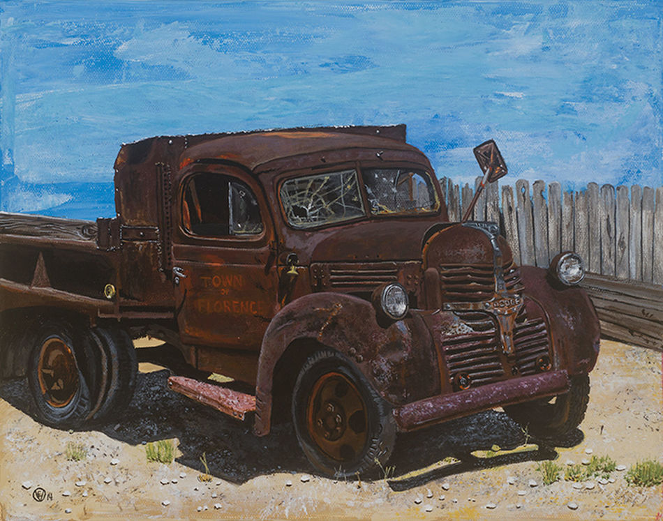 """""""Old Florence"""" Land Vehicle Rusty Abandoned Stationary Outdoors Sky Day Painting Acrylics Truck EyeEmNewHere"""