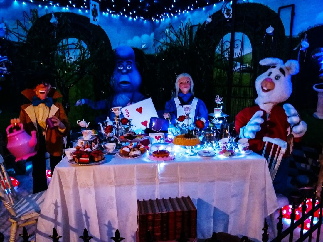Alice in wonderland Fantasy Arts Culture And Entertainment Still Life Mad Hatter Tea Party Table People Celebration Outdoors Night