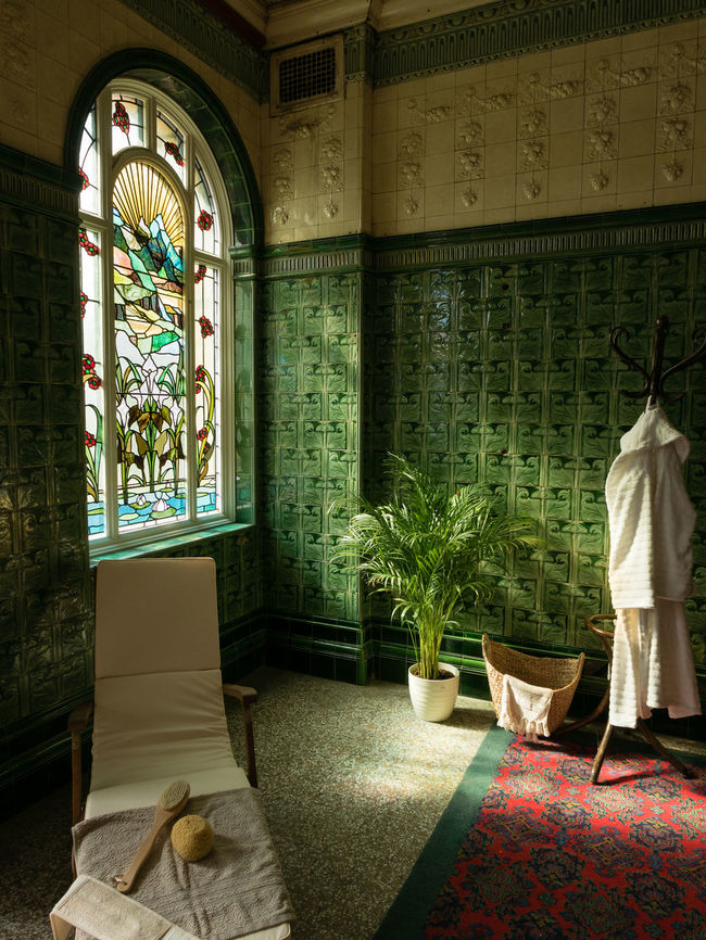 Stained glass windows in the spa rooms at Victoria Baths, Manchester Bathing Colour Glass Green Light Luxury Spa Stained Glass Stained Glass Window Tiles Tradition Turkish Bath Victorian Victorian Architecture Window