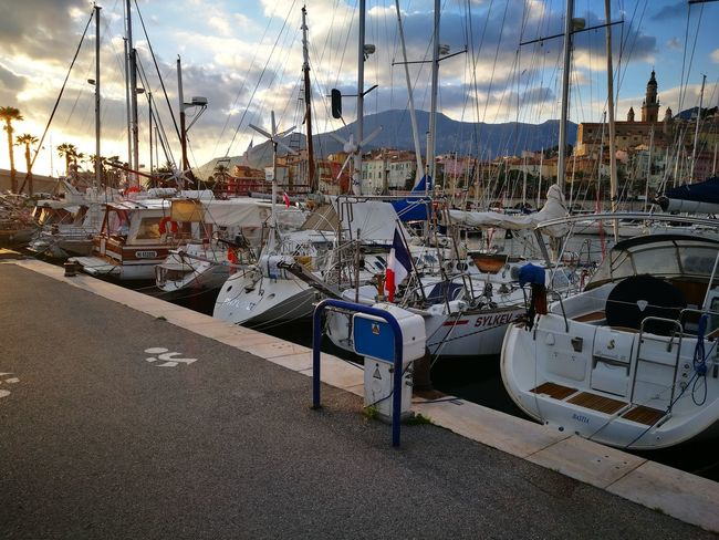 Menton, France Sky Cloud - Sky Transportation Mode Of Transport Water Outdoors Nautical Vessel Day No People Nature