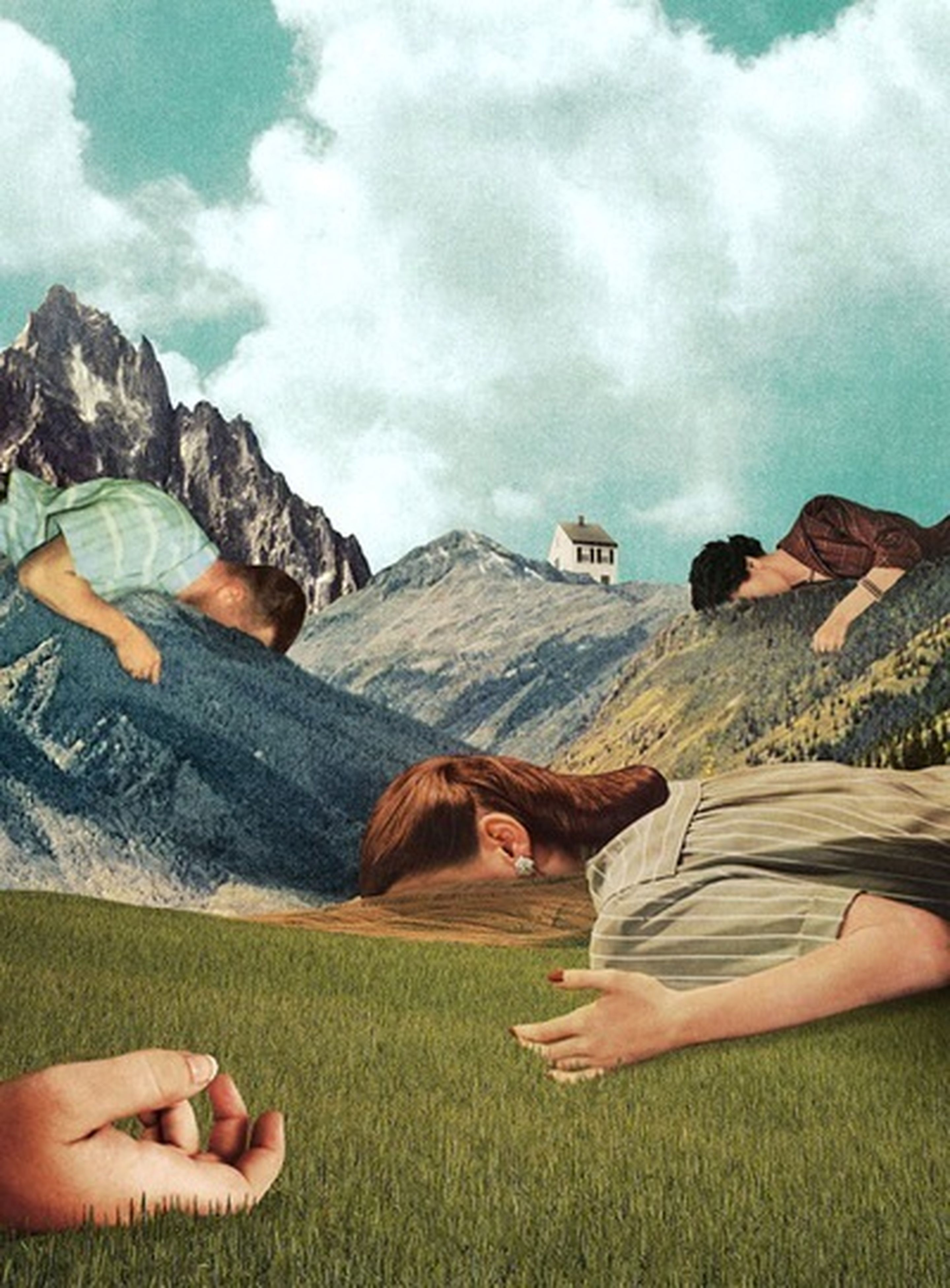 sky, lifestyles, leisure activity, grass, cloud - sky, relaxation, landscape, men, cloud, field, person, nature, cloudy, sitting, mountain, tranquil scene, tranquility