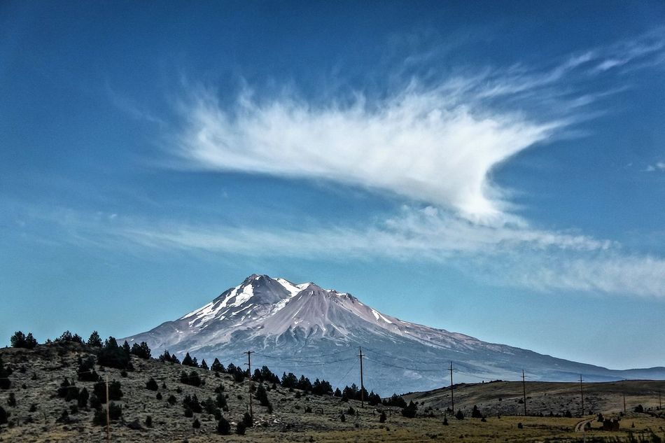 Beauty In Nature California Cloud - Sky Landscape Mount Shasta Mount Shasta, California Mountain Mountain Peak Mountain Range Mountshasta Nature Scenics Sky Snowcapped Mountain