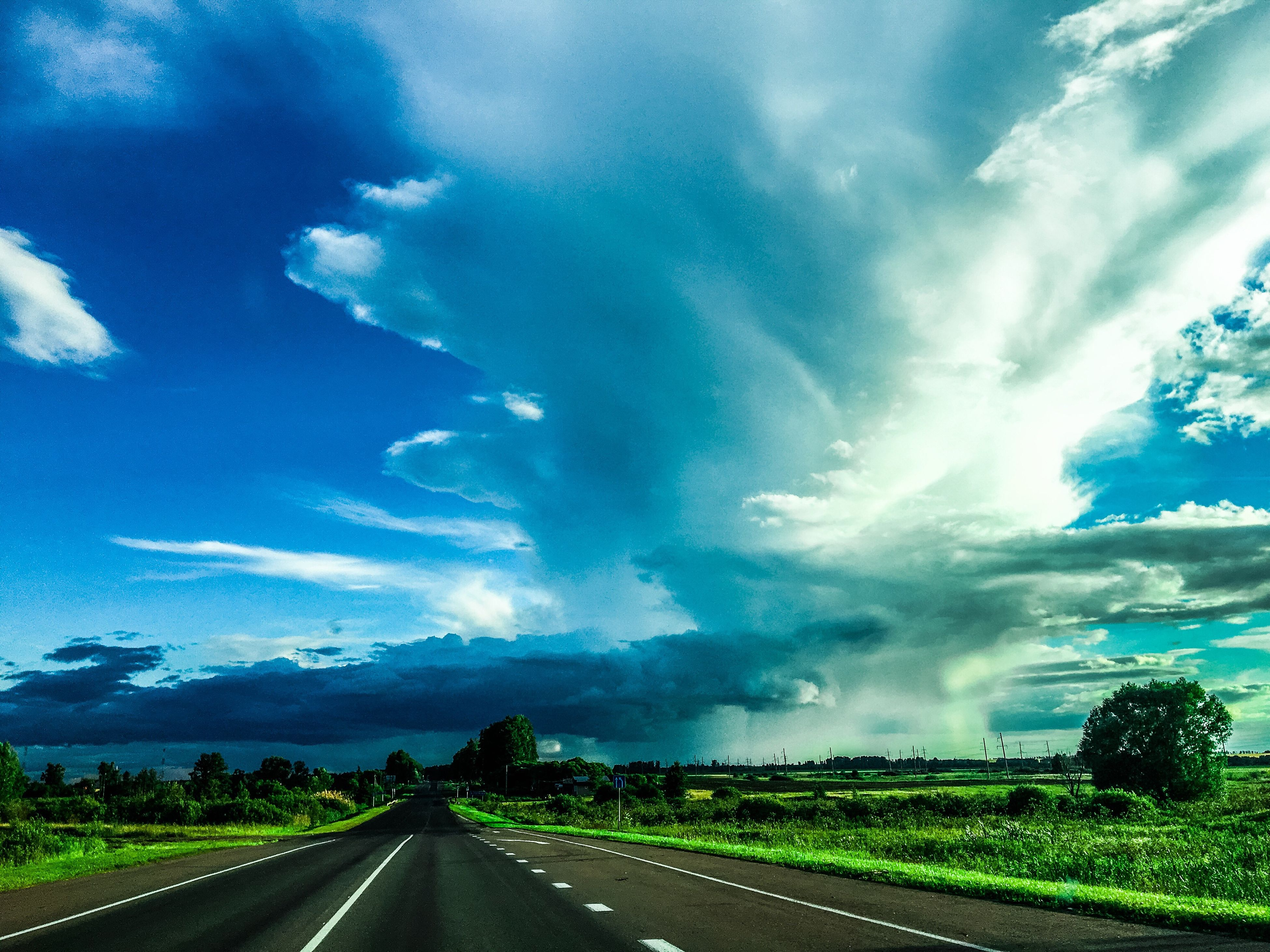 road, sky, the way forward, cloud - sky, transportation, day, nature, landscape, blue, scenics, outdoors, no people, tranquil scene, tranquility, beauty in nature, tree