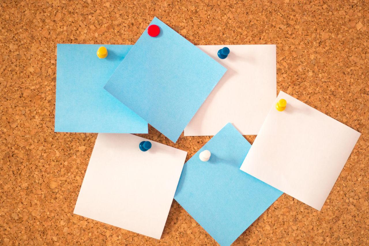 Adhesive Blue Blue Paper Board Board Pin Bulletin Board Close-up Colours Cork Cork Board Corkboard DIY Ideas Multi Colored No People Organized Organizer Organizing Paper Papers Pin Pins Showcase May Still Life White
