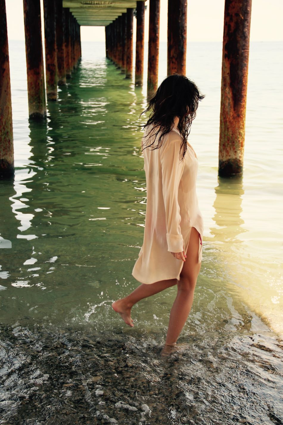 Beach Beach Life Beachphotography Beauty Beauty In Nature Black Sea Bulgaria Full Length Golden Sands Leisure Activity Nature One Person One Woman Only Outdoors Sea Summertime Under Pier Vacation Water Way Forward Women Portraitwithoutface Portrait With Atmosphere