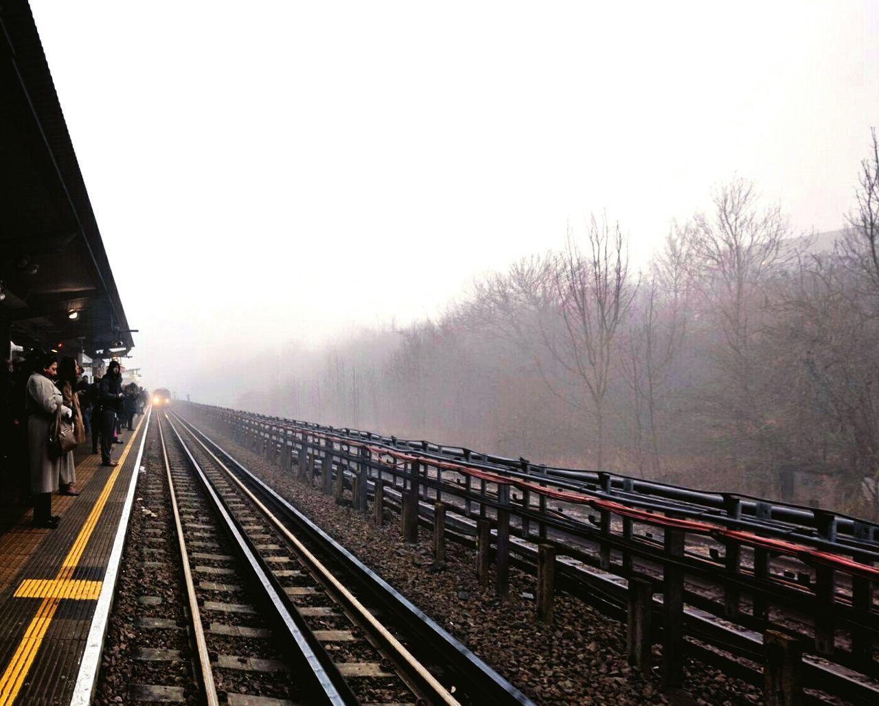 transportation, railroad track, rail transportation, public transportation, fog, mode of transport, outdoors, day, no people, sky, nature, tree
