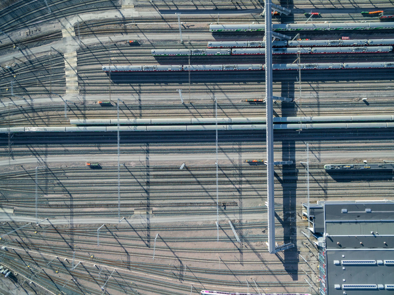 Architecture Backgrounds Building Exterior Built Structure Close-up Day Drone  Finland From Above  Full Frame Helsinki High Angle View Indoors  No People Top Perspective Tracks Train Transportation