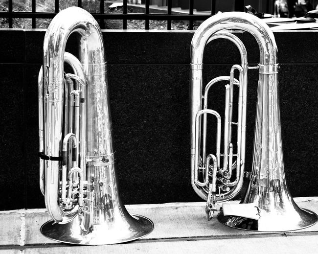 Waiting to play Blackandwhite Photography Brass City Music Musical Instrument No People Stationary Tuba