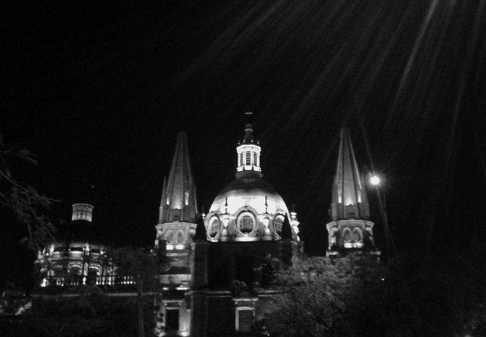 Catedral Guadalajara Noche Negro Y Gris