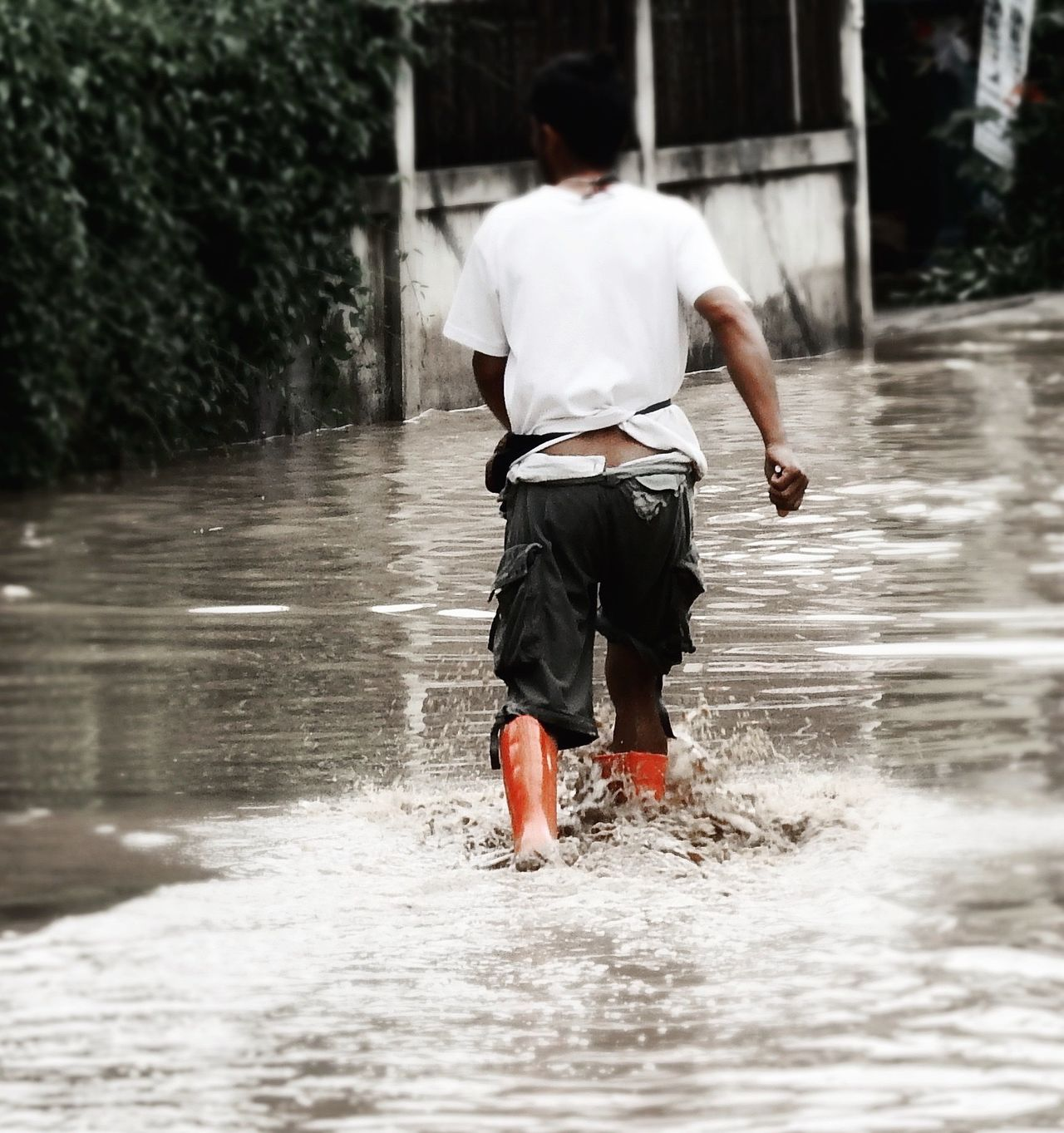 Two Is Better Than One Wellington Boots Red Full Length Motion Water Flood Monsoon Casual Clothing Splash Ripples Reflections Focus On Foreground Wet