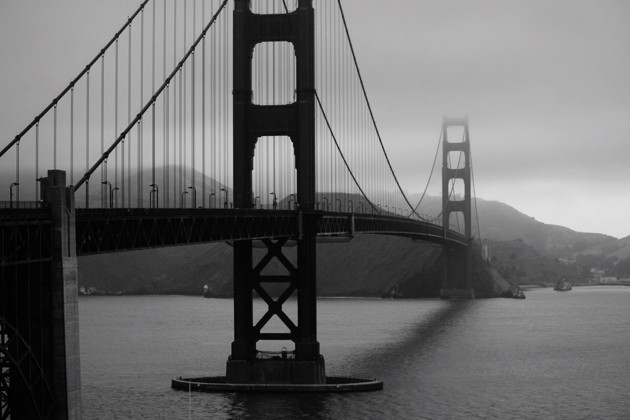 Black And White Connection Bridge - Man Made Structure Suspension Bridge Engineering Built Structure Architecture Travel Destinations Transportation Water Travel Tourism Outdoors Sky Bridge Cable-stayed Bridge City No People River Steel Cable Day Golden Gate Bridge San Francisco