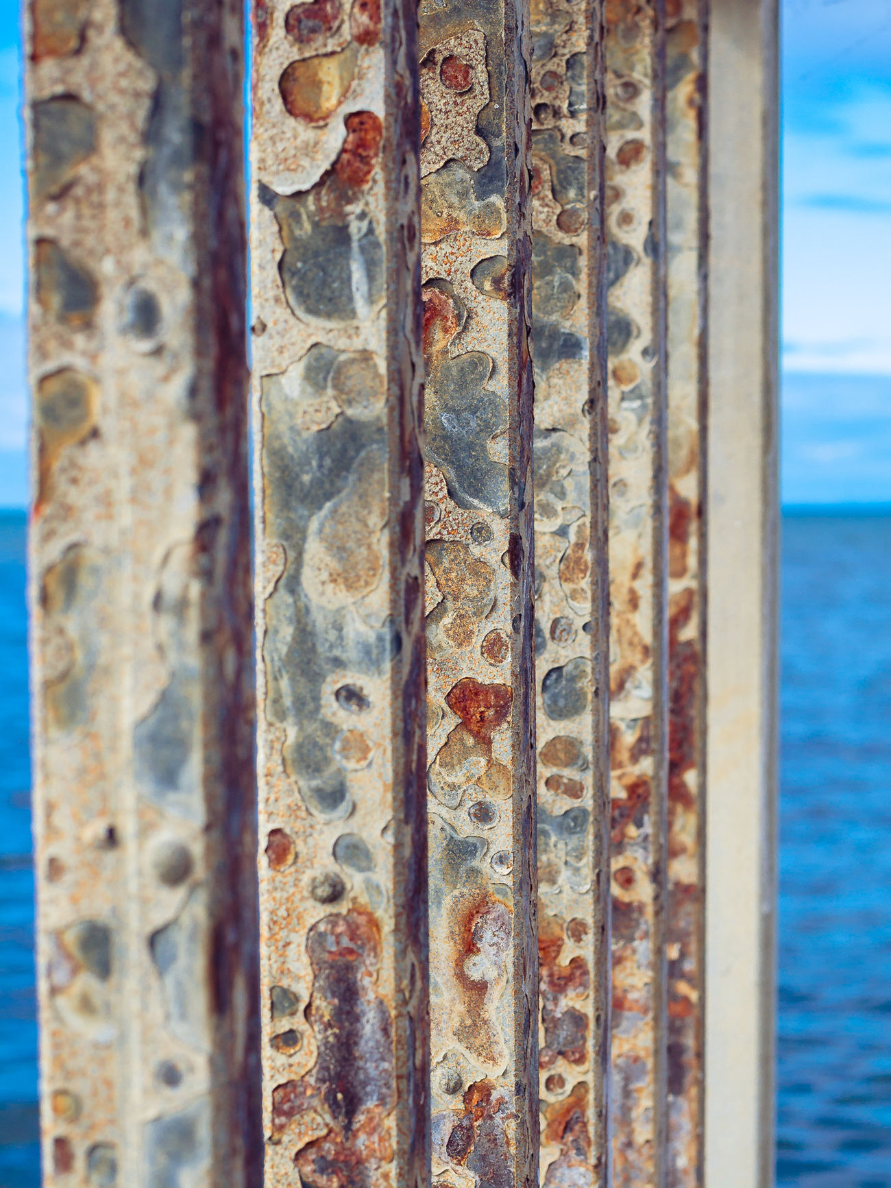 Close-up Metal Metallic Old Pier Rusty Seashore Textured  Weathered