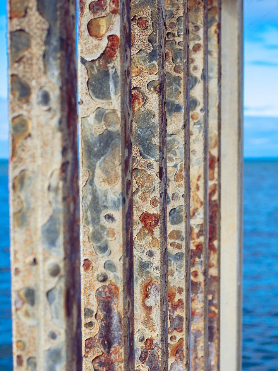 Close-up Metal Metallic Old Pier Rusty Seashore Textured  Weathered