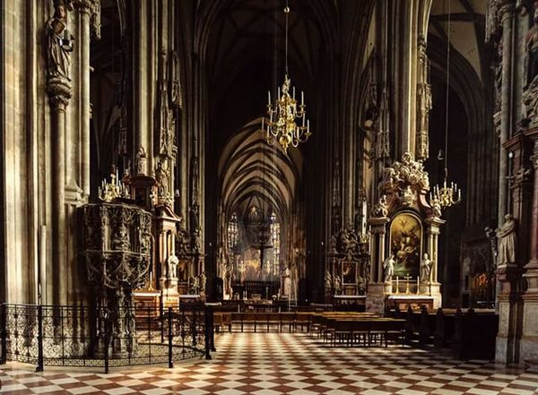 Religion Religion Church Place Of Worship Spirituality Religion Cathedral Arch Pew Architecture Bench Indoors  Aisle Sitting Interior History Gothic Style Group Of People Architectural Column Worship