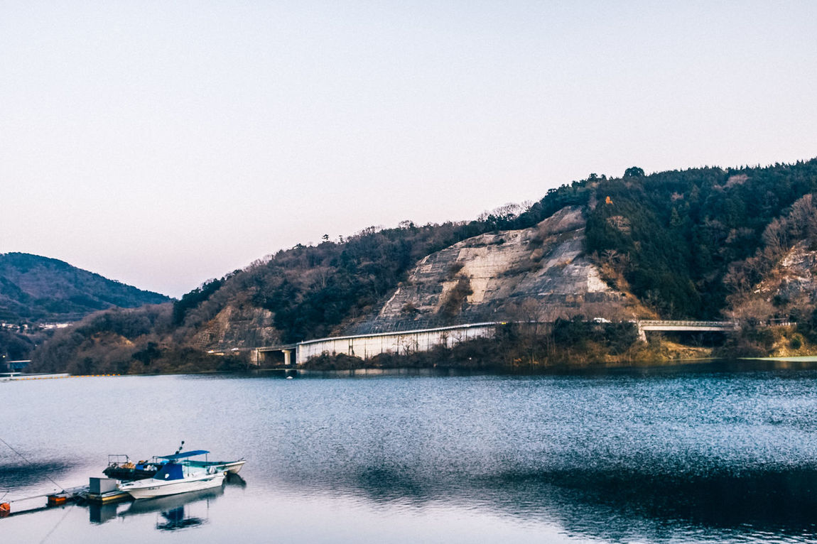 Beauty In Nature Clear Sky Day Instagram Japan Lake Mino Mountain Mountain Range Nature Nautical Vessel No People Osaka 大阪 Outdoors Scenics Sky Tranquil Scene Tranquility Transportation Tree Water Waterfront