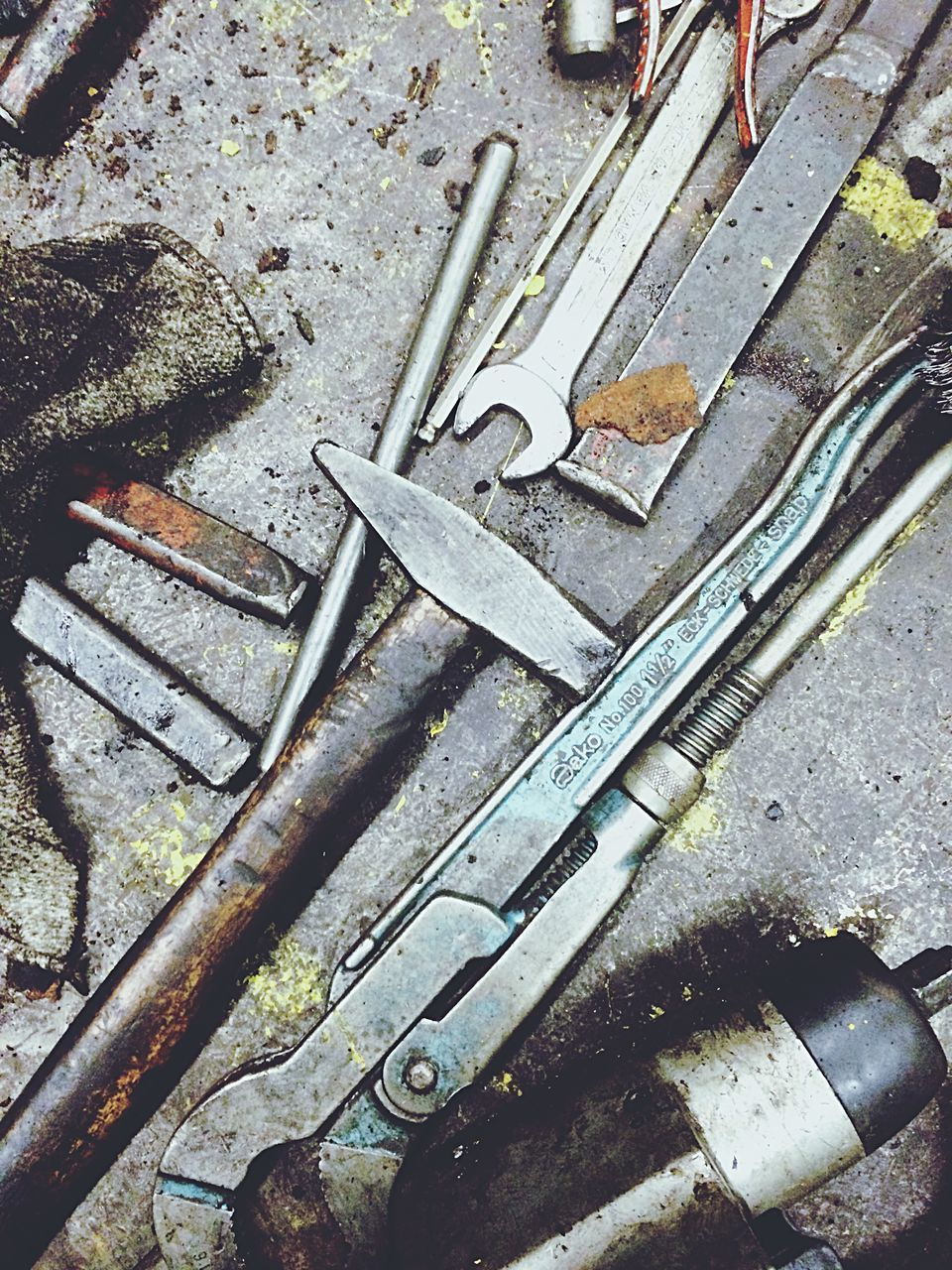 High Angle View Of Various Work Tools