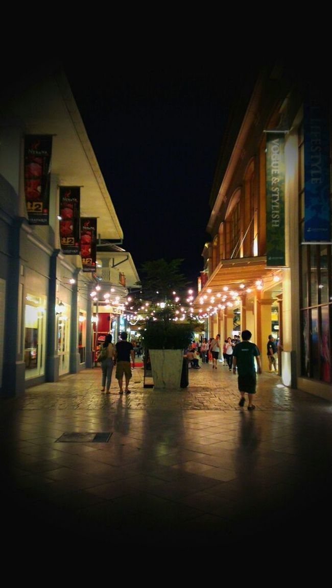 Walking Around Night Lights Path Streetlights