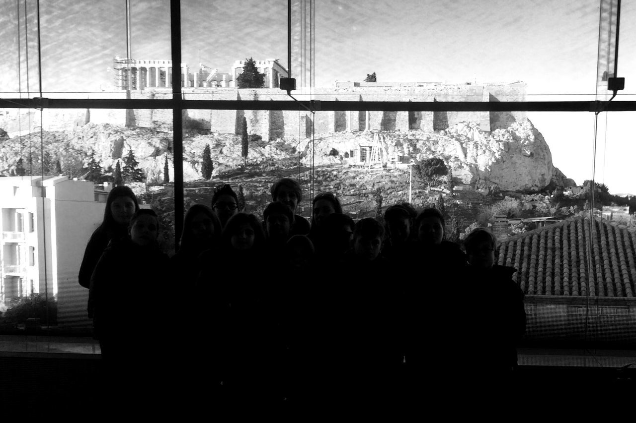 My first Tour Guiding at the Acropolis Museum Human Figures Silhouettes Students of first grade from Volos who Visited Athens - Educational Excursion - and the Rock of Acropolis at the Background with Parthenon Blackandwhite Bnw_silhouettes for Bnw_friday_eyeemchallenge