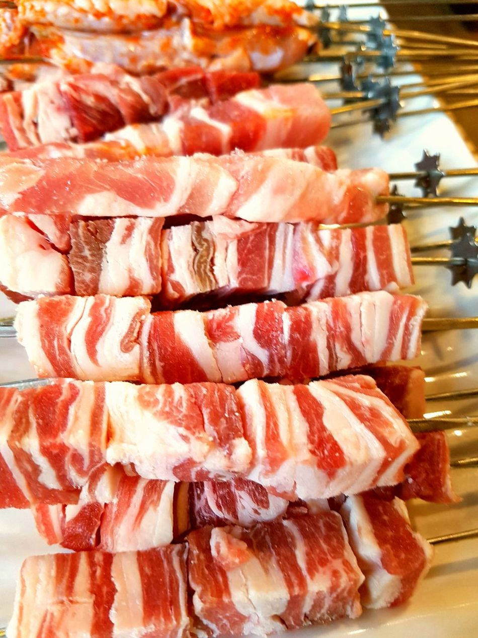 Meat Food Indoors  SLICE No People Freshness Sweet Food Day Ready-to-eat Close-up Lambs Lamb Skewers its nice~!!