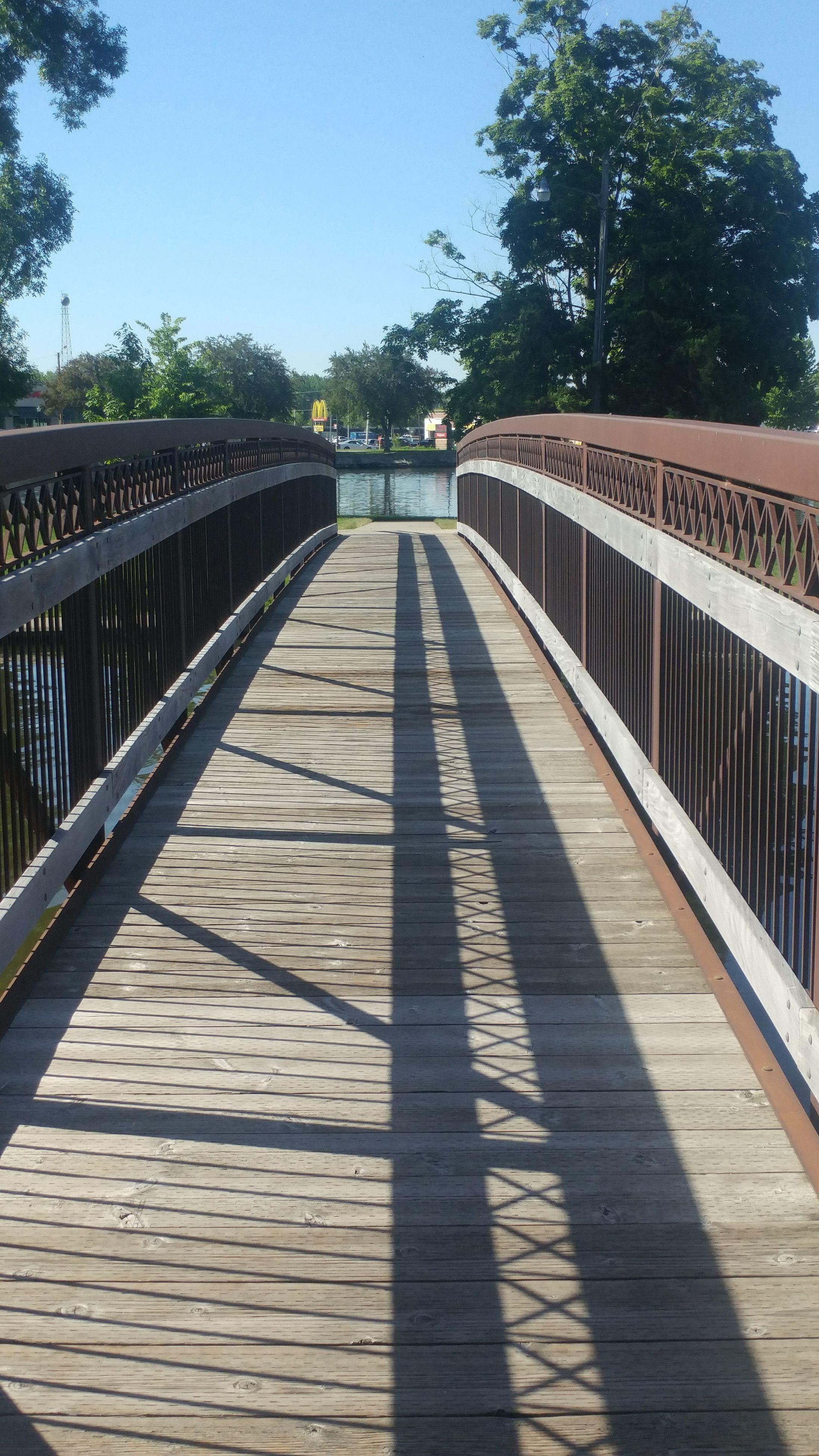 railing, shadow, sunlight, tree, footbridge, the way forward, day, outdoors, clear sky, no people, sky