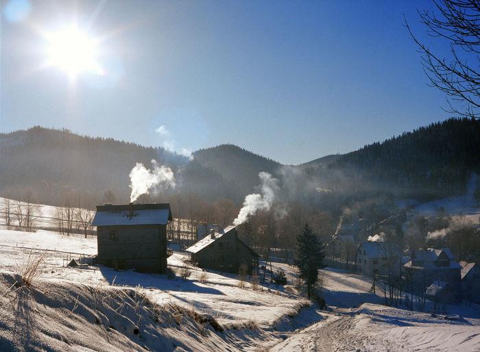 Cold Cold Days Cold Temperature Frozen Korbielów Korbielów Mountain Mountains Poland Polen Smoke Smoke From The Chimney Village Winter