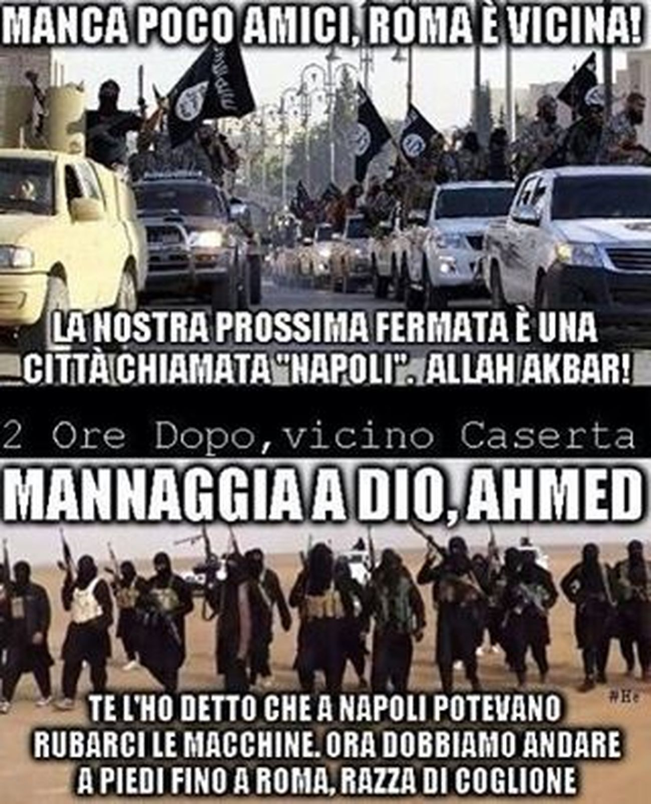 "Let's smile... 😂😉😜 - we're almost there friends, Roma is near! Our next stop is a town called ""Naples"".. allah akbar! ...( 2 hours later, nearby Caserta....) god damn, ahmed! I told you that in Naples could steal cars... now we have to go on foot to Rome..you bloody fool!!! 😜😜 Isisirony Stopisis Italy Italianstyle Italianirony Ironía MadeinItaly Loves_madeinitaly Napoli Naples Rome Roma Noisis LOL Fuckisis"